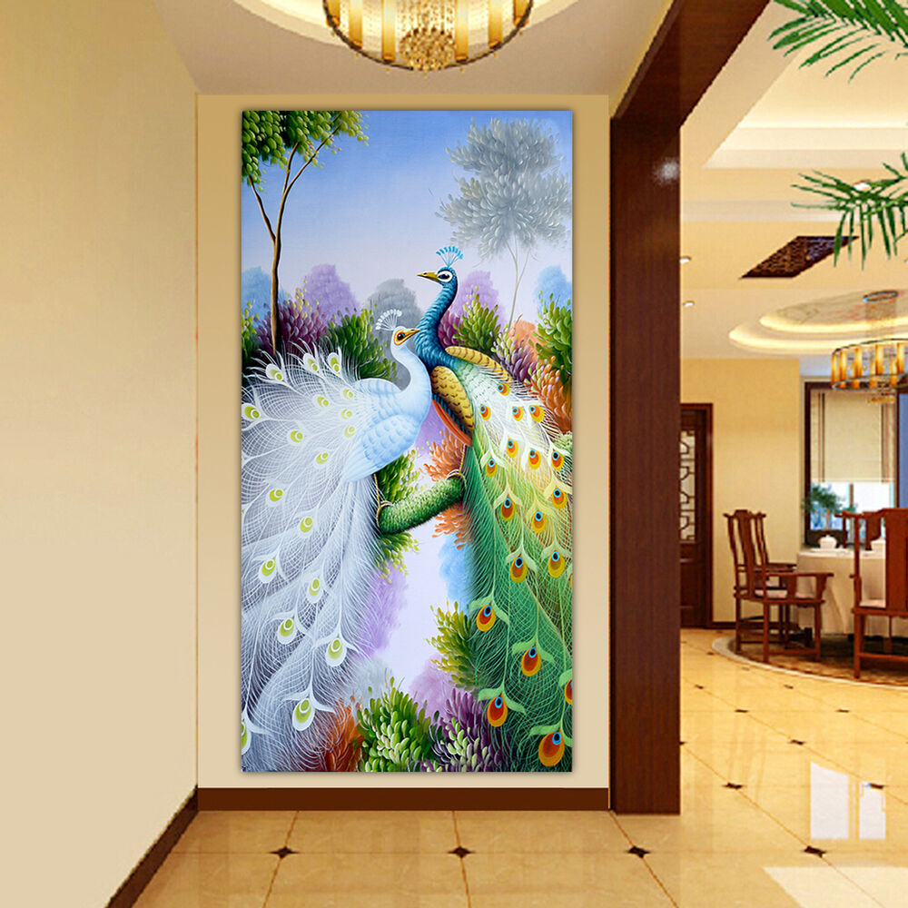 Peacock diamond embroidery picture 5d diy painting craft for Home decorations on ebay