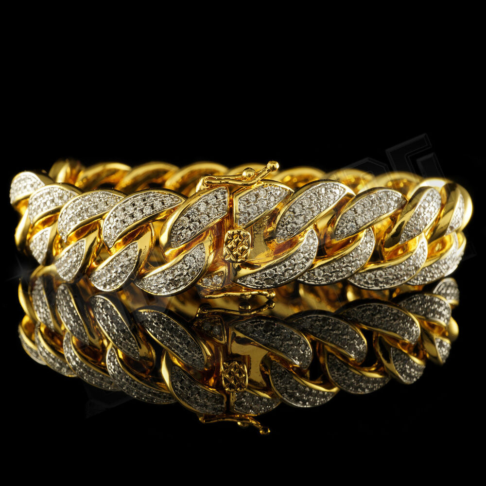 18k Gold Fully Iced Out Cuban Miami Link Micropave Men