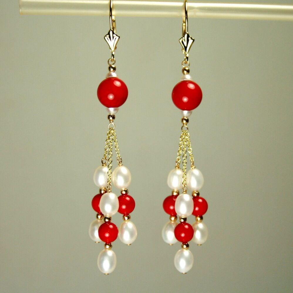 14k Solid Yellow Gold Natural Red Coral White Pearl