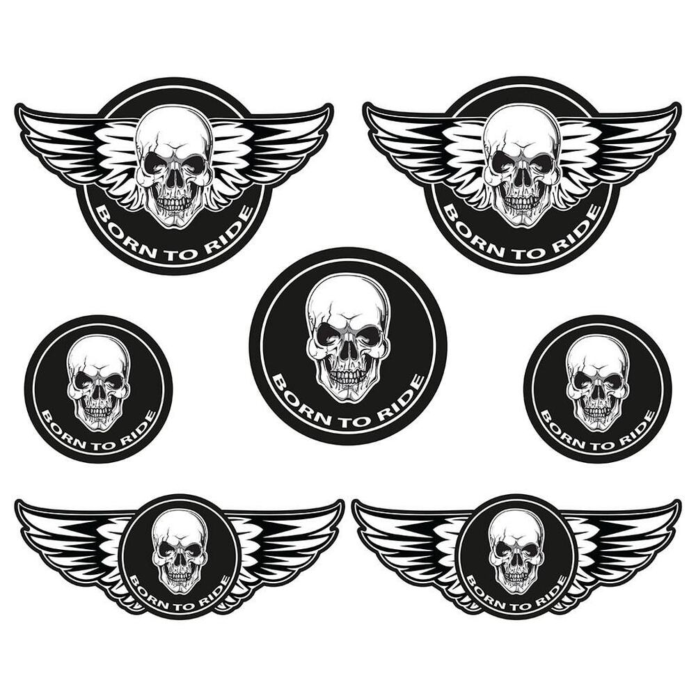 Details about born to ride laminated sticker set biker motorcycle chopper bobber cafe racer