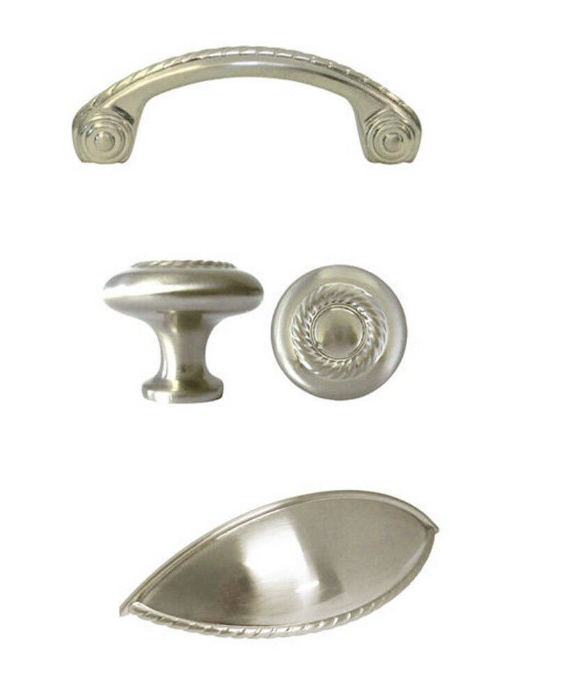 Satin Nickel Rope Kitchen Cabinet Drawer Knobs And Pulls Brushed Nickel Ebay