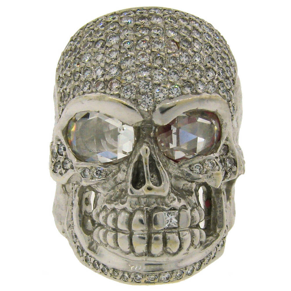 impressive loree rodkin 368cts diamond white gold skull