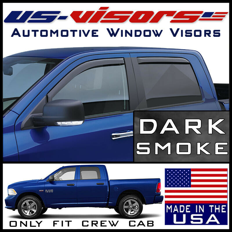 Rain Guards For Trucks >> Us Visors Crew Cab In Channel Window Vent Visors Rain Guards Fit