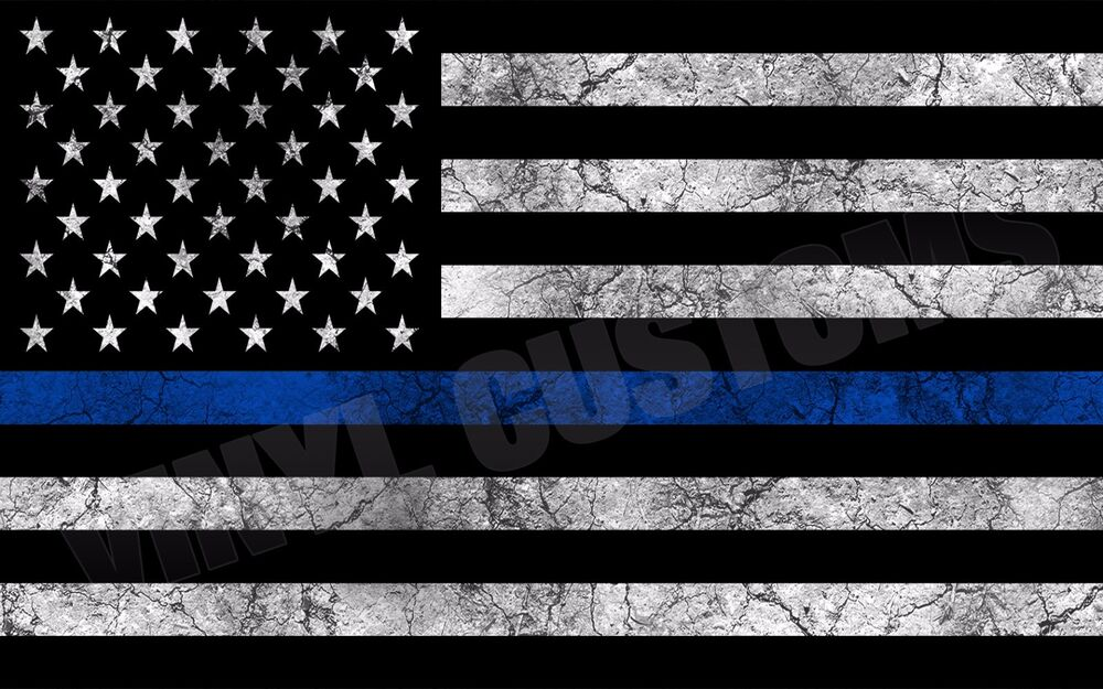 American Police Flag Usa Decal Sticker Swat Blue Stripe