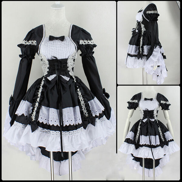 Bl Fancy lolita Princess Dress Maid Outfit Anime Cosplay ...