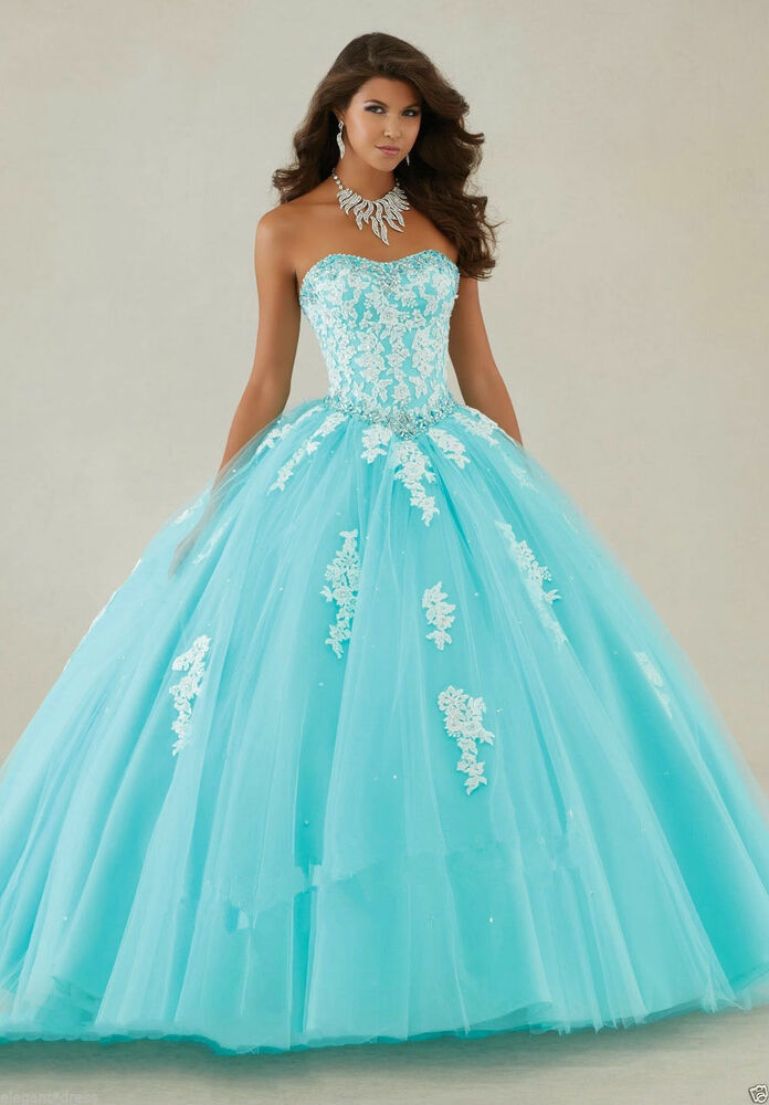 97db087292 Details about New Lace Aqua Evening Prom Formal wedding Party Quinceanera  dress Ball gown 6-16