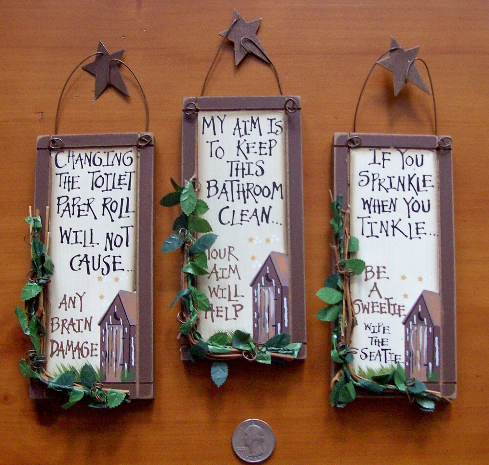 3 outhouse wood primitive bathroom signs wall decor with for Wood bathroom wall decor