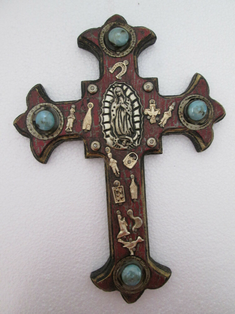Milagro Cross Wooden Milagros Crosses Hand Painted Home