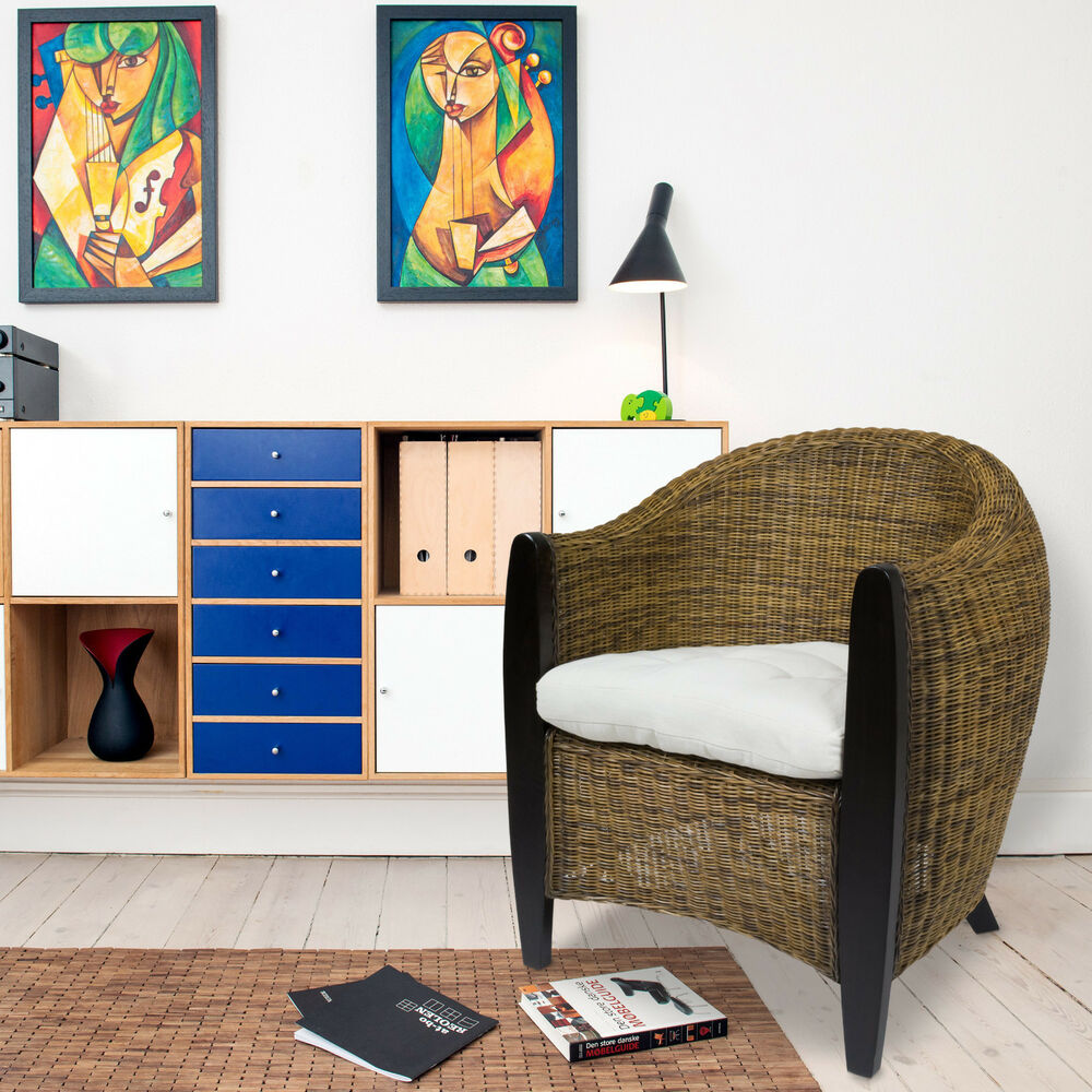 bari sessel rattansessel loungesessel clubsessel rattanstuhl rattan lounge bicol ebay. Black Bedroom Furniture Sets. Home Design Ideas