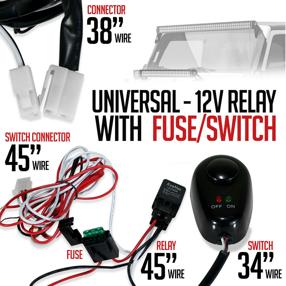 universal relay fused wiring harness power switch for led