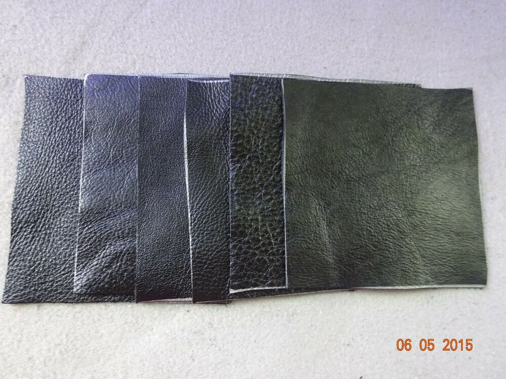 Scrap leather genuine cowhide black thin 4x4 nice 6 pieces for Leather sheets for crafting