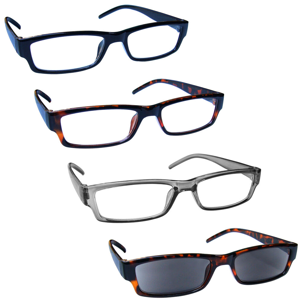 837f9b55f5c Details about UV Reader Reading Glasses With Brown Sun Reader 4 Pack Mens  Womens RRRS32-1272