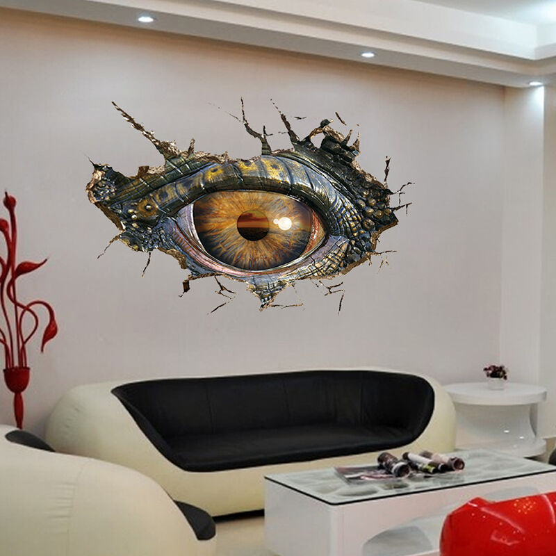 3d big dinosaur 39 s eye wall sticker decal art decor vinyl home room door mural ebay. Black Bedroom Furniture Sets. Home Design Ideas