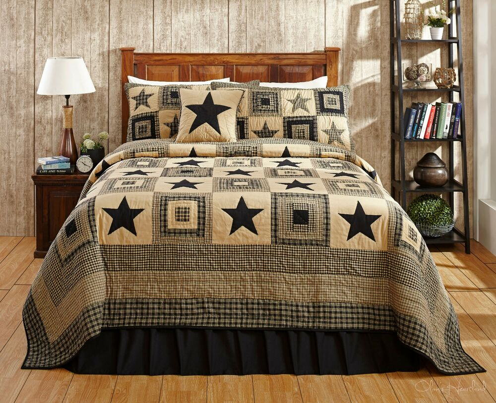 Country Bedding Sets Queen: 4PC COLONIAL STAR BLACK QUEEN BED QUILT SET By OLIVIAS
