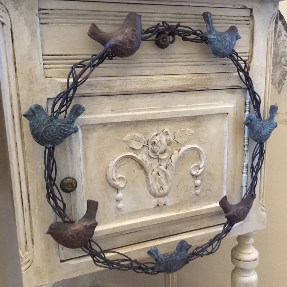 shabby chic metal wreath birds vintage french country style door wall decoration ebay. Black Bedroom Furniture Sets. Home Design Ideas