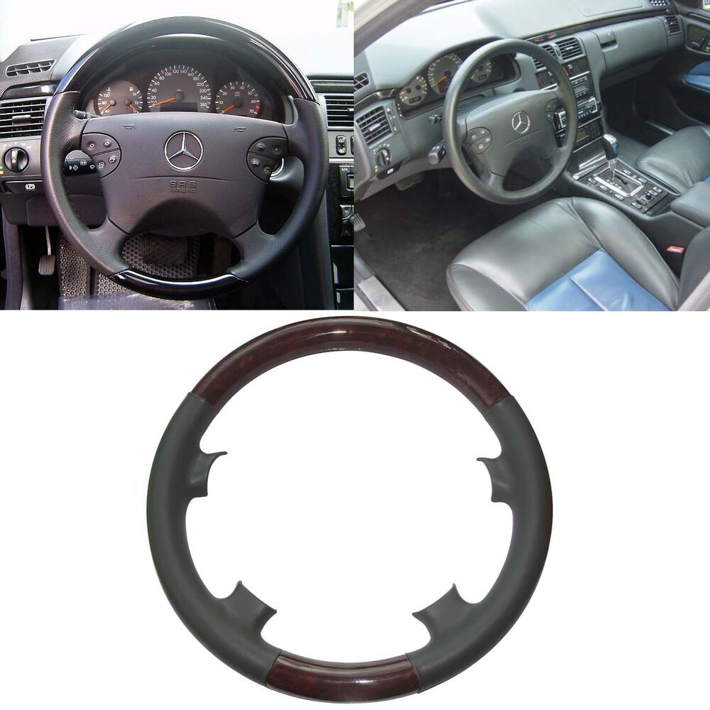 Grey leather wood steering wheel cover for 00 02 mercedes for Mercedes benz steering wheel cover