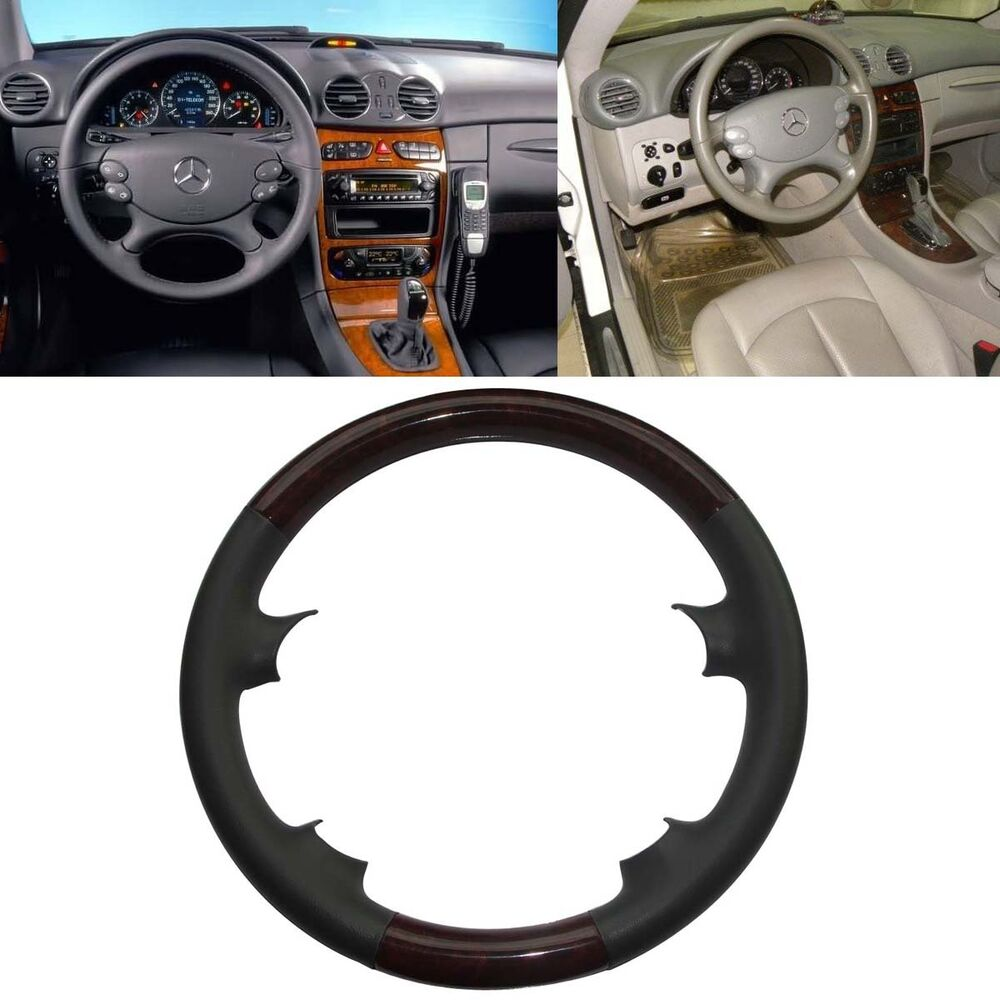 Leather wood steering wheel cover cap mercedes 2006 2009 for Mercedes benz steering wheel cover