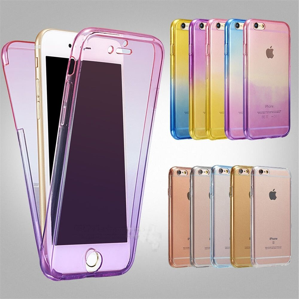case for iphone 6s ombre shockproof hybrid back front rubber clear cover 3312