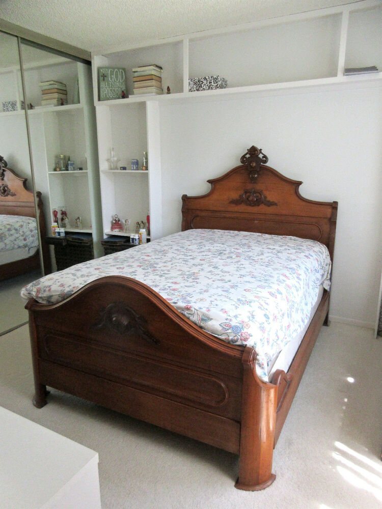 Victorian antique bed dresser bedroom set mahogany finely
