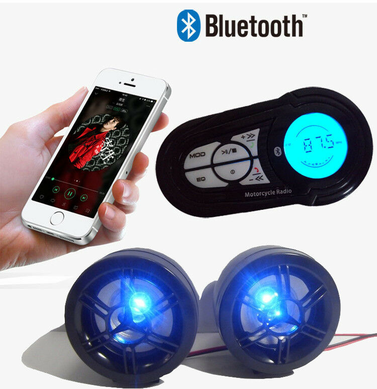 A+ Motorcycle Bluetooth Handfree Audio System FM Radio Stereo Amplifier Speaker