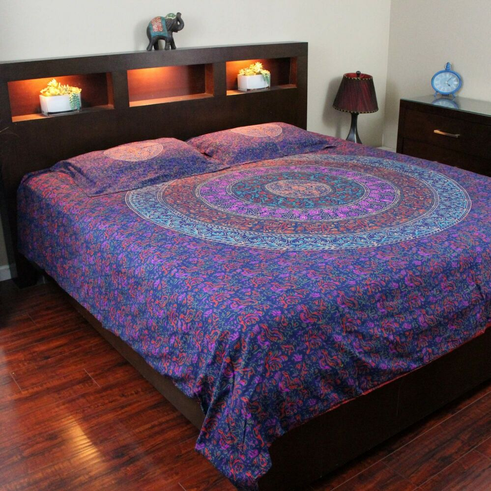 Reversible Duvet Cover 100 Cotton Handmade Mandala Block