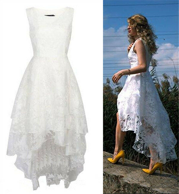 2016 floral lace high low rustic wedding gown long short for Floral beach wedding dresses