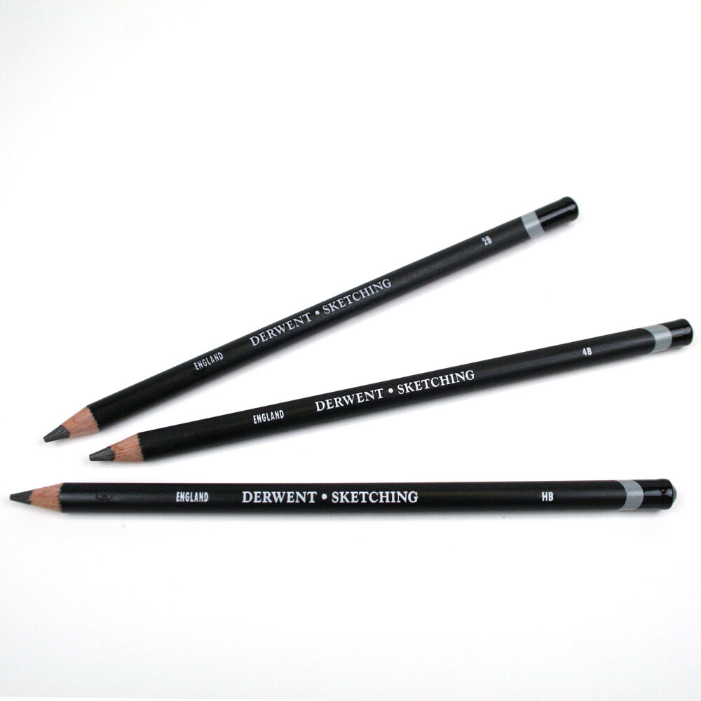 Details about derwent individual sketching wide strip pencils hb 2b 4b grades available