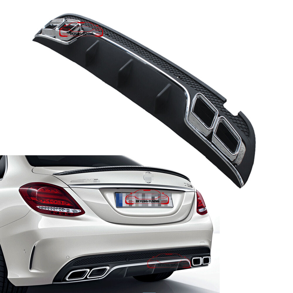 Amg c63 style rear bumper lip diffuser muffler exhaust tip for Mercedes benz exhaust