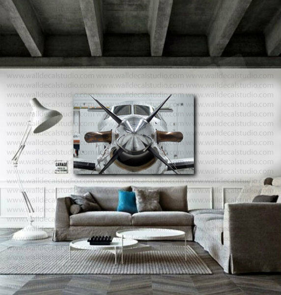 Propeller white airplane canvas art poster print home wall for Airplane decoration
