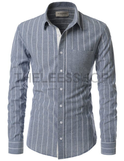 Nksst672 thelees casual vertical striped long sleeve for Oxford vs dress shirt