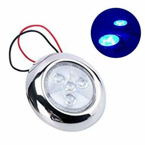 "Replace Boat Lights With Led: 4 LED 3"" Blue Stainless Steel Housing Round LED Courtesy"