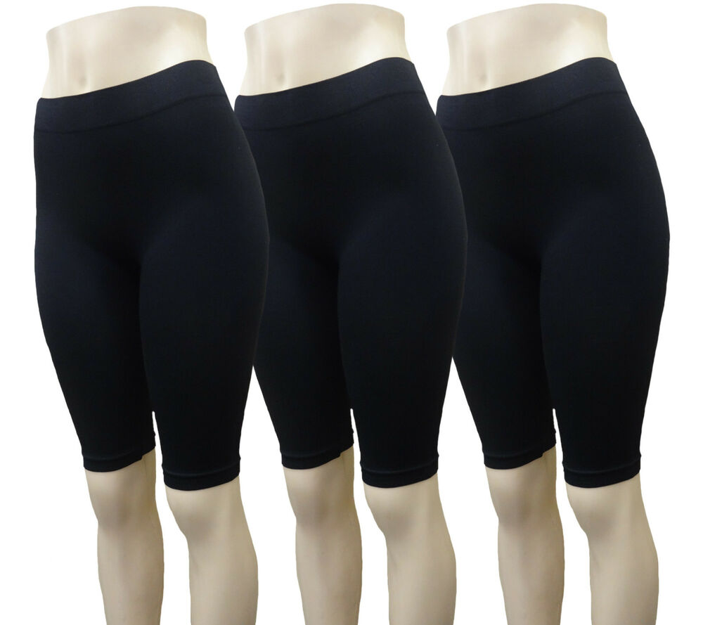 3 SPANDEX LONG LENGTH BLACK SHORTS YOGA CHEERLEADER