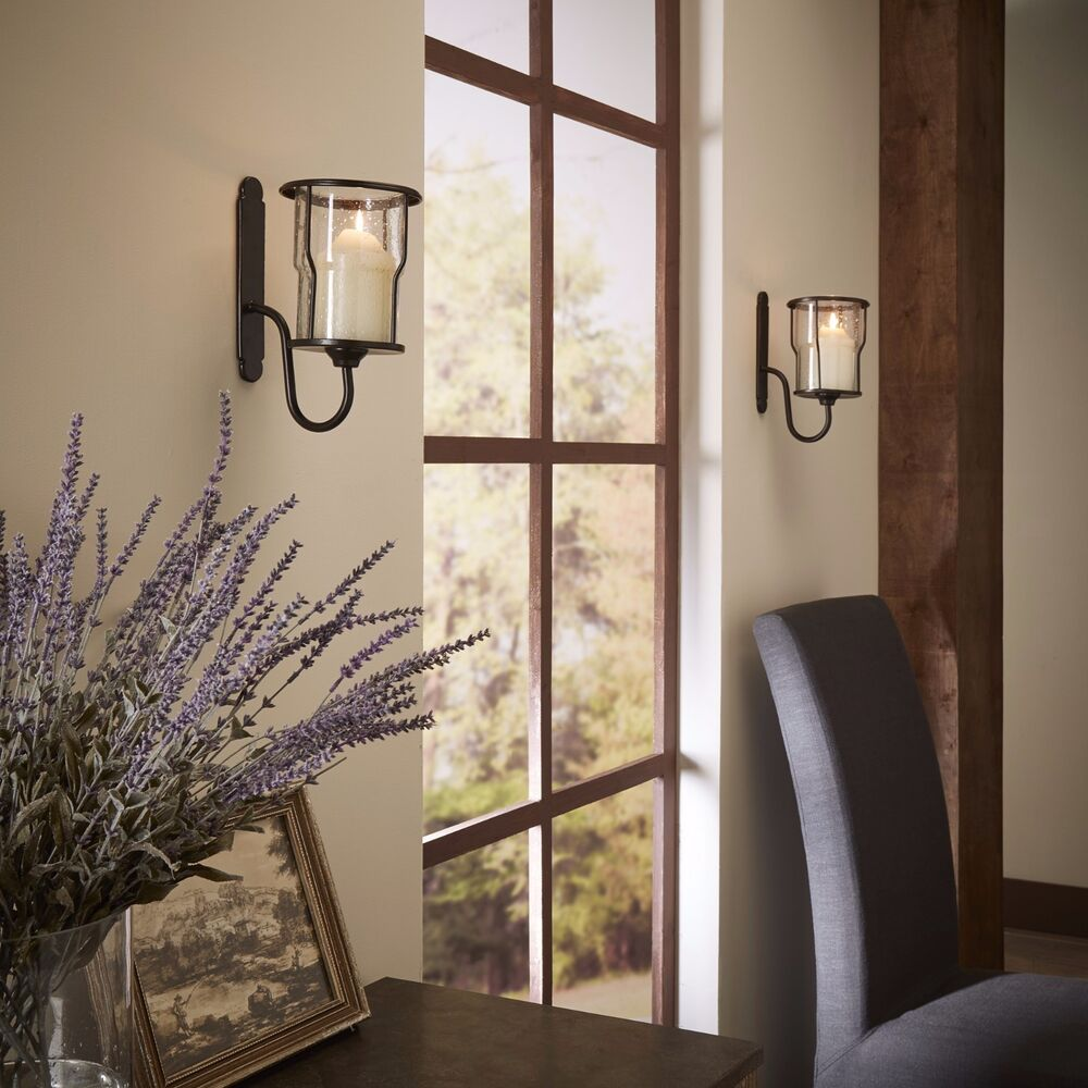 Wall Mounted Metal Sconces Bubble Glass Candle Holders