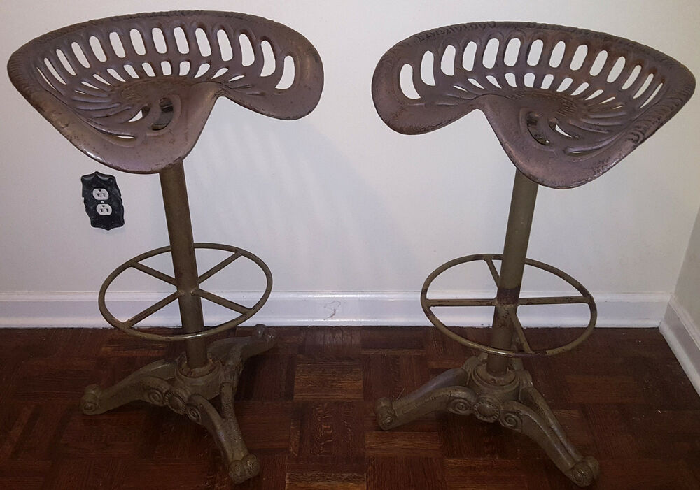 Cast Iron Tractor Seats : Tractor seat bar stool pair cast iron baker hamilton