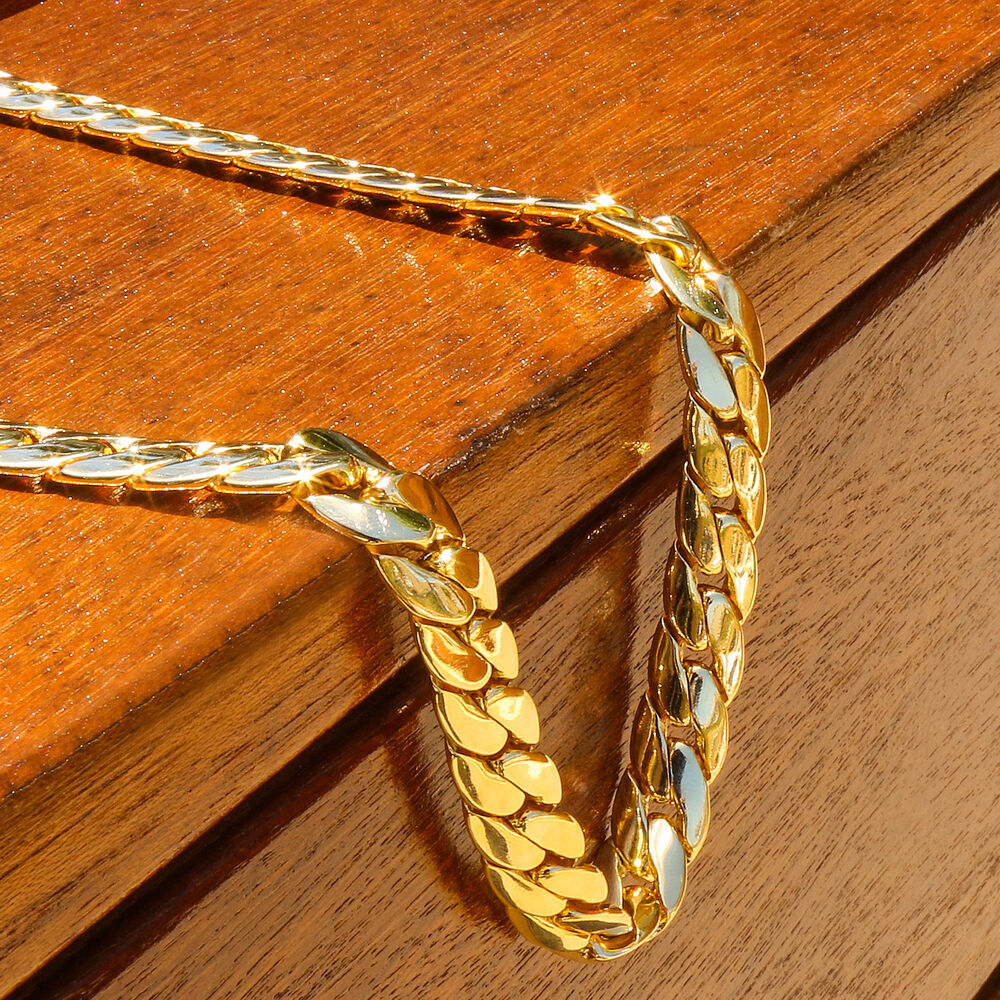 Men S 14k Gold Plated Hip Hop Miami Cuban Snake Chain 12mm