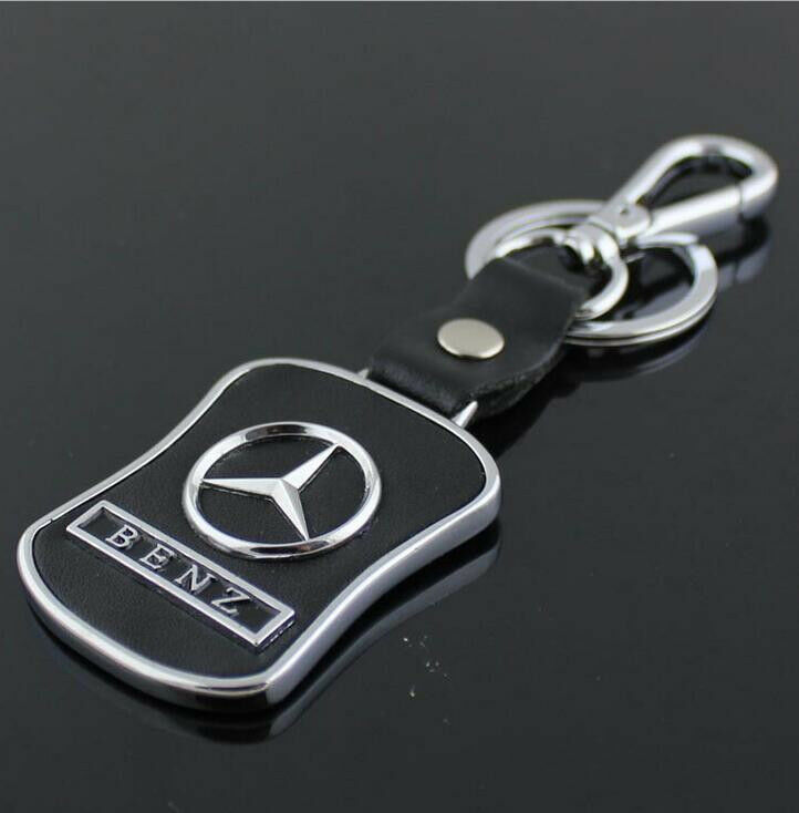 Auto car keychain key chain holder leather metal for for Mercedes benz key chain