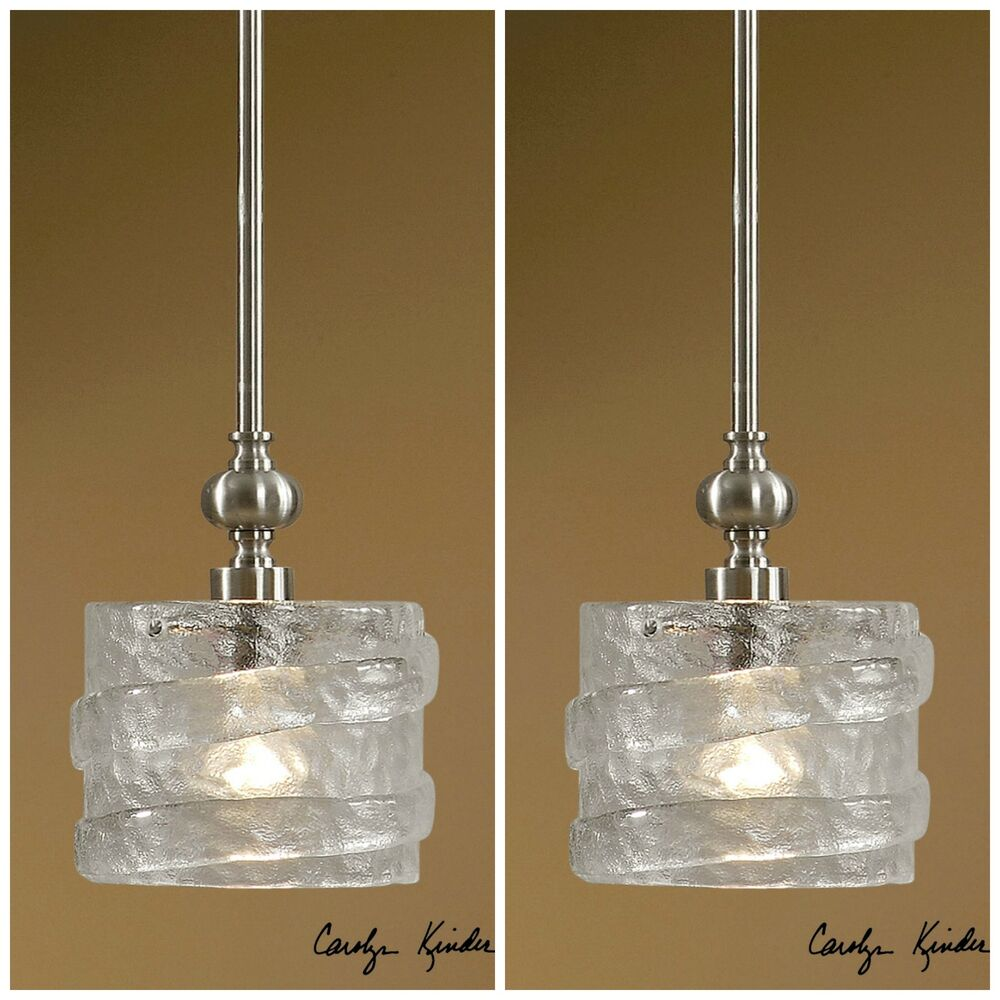 TWO MINI SEEDED GLASS HANGING PENDANT LIGHTS SILVER