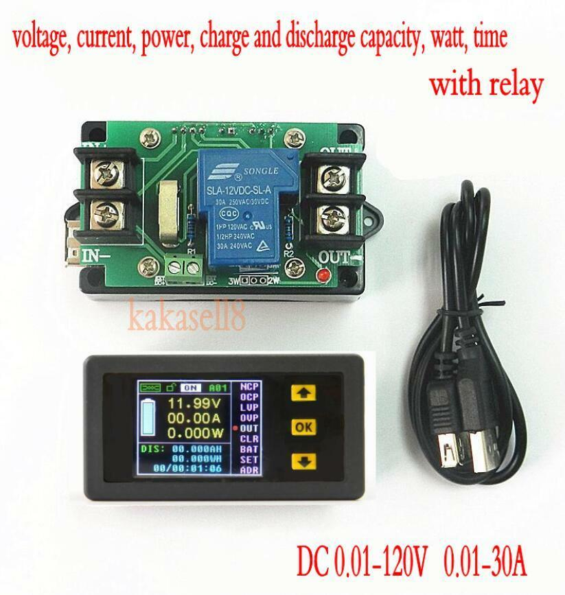 Charger Watt Meter: DC Battery 120V 30A LCD Voltage Current Watt Power