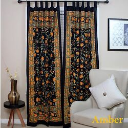 Handmade French Floral Tab Top Curtain 100% Cotton Drape Door Panel Black Amber