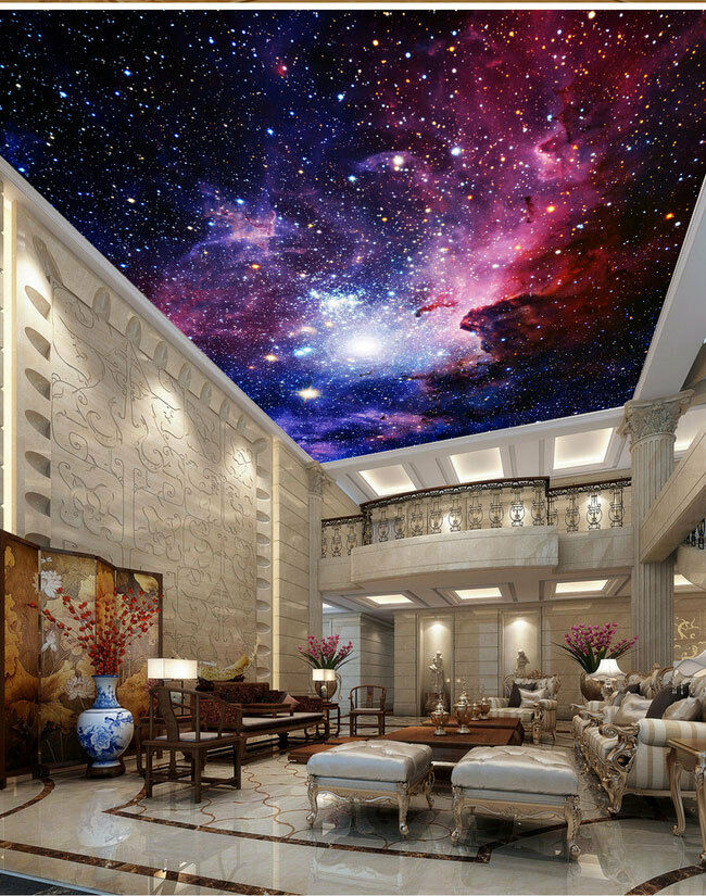 Galaxy nebula outerspace ceiling wall mural wall paper for Space wallpaper bedroom