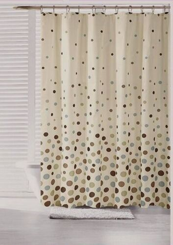 70 in x 72 in space canvas fabric shower curtain polka dot for Space curtain fabric