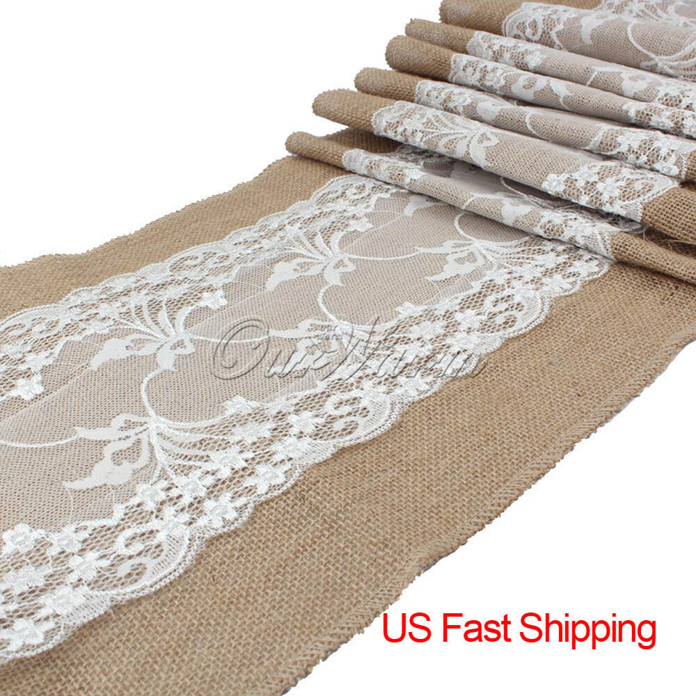 Wholesale 10pcs Burlap Lace Table Runners Wedding Party