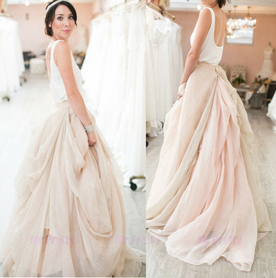 Champagne short train skirts wedding bridal party formal for How to make a long tulle skirt for wedding dress