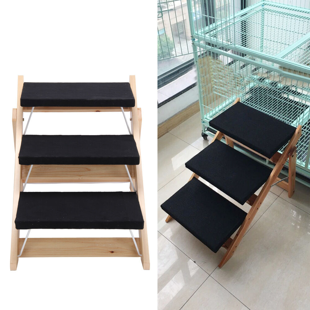 New portable folding 2 in 1 wooden pet ramp stairs dog for Folding stairs
