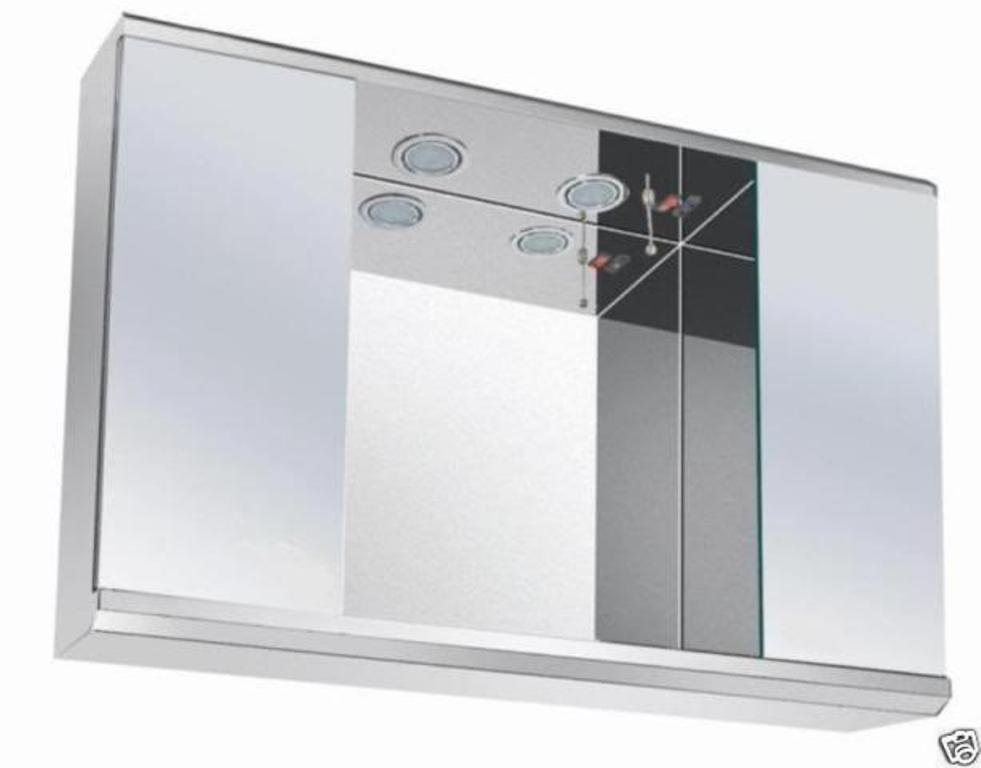 White And Chrome Bathroom Shaver Light With: Led Lights Bathroom Mirror Cabinet With On/Off Pull Switch