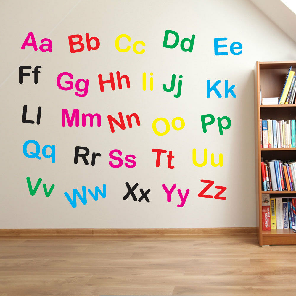 Nursery Alphabet Letters Lower Upper Case Writing Wall Stickers