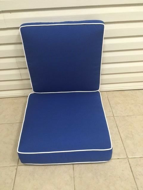 2 Pc Frontgate Cobalt Blue Verand Dining Thick Chair Patio