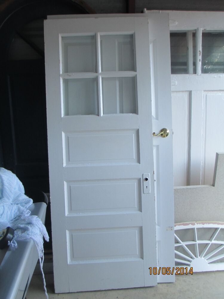 Antique exterior wood door 4 panes glass and 3 horizontal for Wooden back doors with glass
