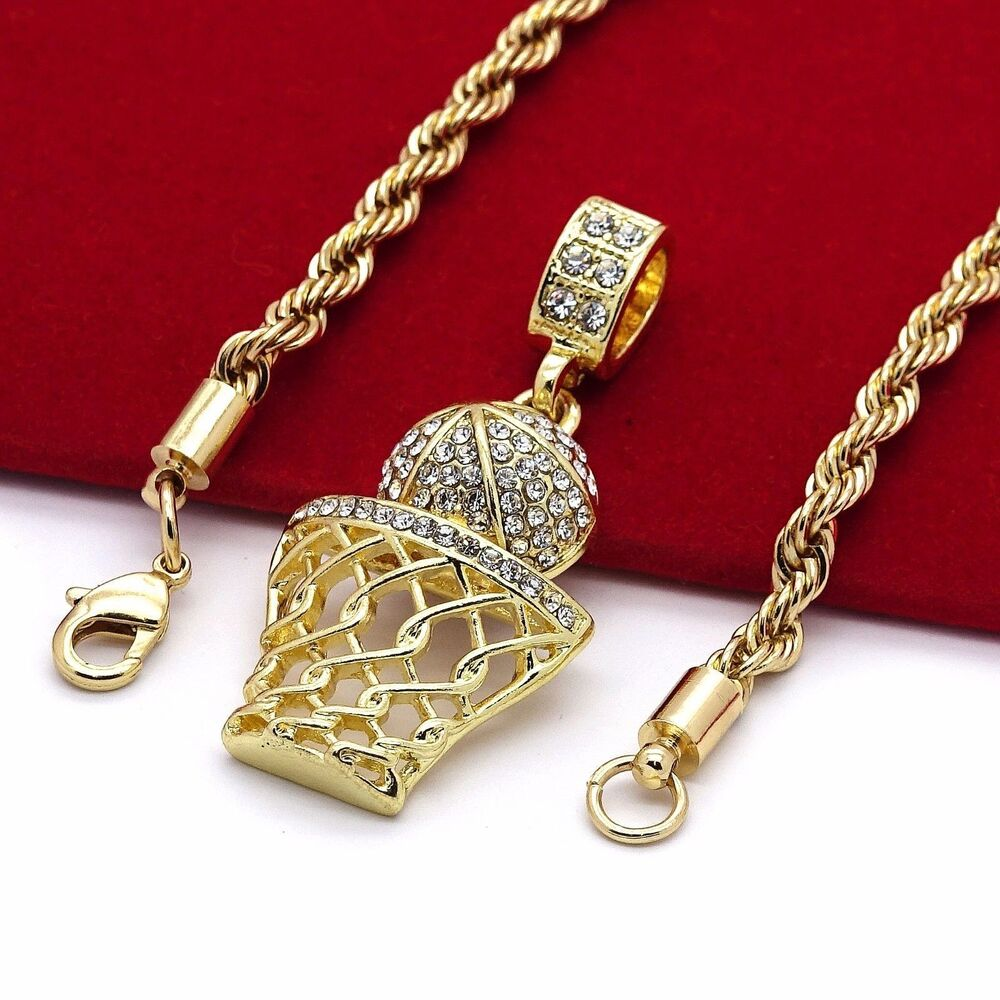 Bundle offer 18k gold plated amp white gold plated necklace 2 ring - Basketball Iced Out Micro Pendant Hip Hop Chain Gold Tone 24 Inch Rope Necklace