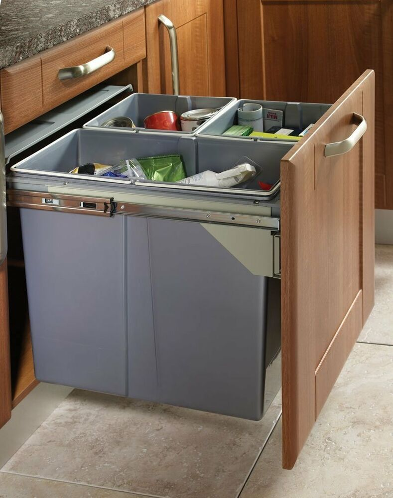 Recycle bin pull out kitchen waste bin 600mm 68 ltr jc609m for Kitchen cabinets 600mm